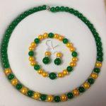 Natural Prett Lovely Women's Wedding <b>Jewelry</b> Shell Pearl Green gem necklace Bracelet Earrings Set >AAA GP Bridal wide w