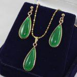 Prett Lovely Women's Wedding wholesale nice new <b>jewelry</b> water drop green gem earring & chain pendant <b>jewelry</b> set003 brinco