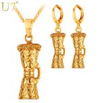 U7 KUNDU Ethnic Earrings And Charm Necklace Set For Women Yellow Gold Color Wedding Costume <b>Jewelry</b> Sets S1005