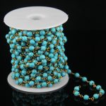 6mm Faceted Round Beads <b>Jewelry</b> Chain,Blue Howlite Plated Bronze Brass Wire Wrapped Link Necklace Beaded Chains <b>Supply</b>