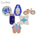 Lychee 6pcs/lot Metal Enamel Cartoon Brooch Pin Bike Wishing Bottle Collar Lapel Pin Jacket Jeans Bag Decoration <b>Jewelry</b>