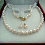 Prett Lovely Women's Wedding shipping>8-9MM Real Natural White Akoya Cultured Pearl GP necklace earrings set AAA