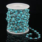 Sky Blue Lampwork Glass Beads Flat Round Beading <b>Supplies</b> Chain,Plated Silver Wire Wrapped Link Coin Chain For Bracelet <b>Jewelry</b>