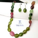 TBJ ,100% Natural fancy color tourmaline gemstone neacklace and <b>earring</b> with 925 <b>silver</b> clasp,luxury big size necklace with box