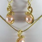 Prett Lovely Women's Wedding shipping> >>>>>12mm Pink South sea Shell Pearl Earrings & Necklace Pendant Set AAA silver-<b>jewelry</b>