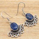 Silver Overlay Classic BLUE sappfire Earrings Pair ! <b>Jewelry</b> <b>Supply</b>