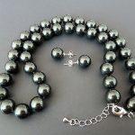 "Prett Lovely Women's Wedding AAA+ 8mm black shell pearl earring and 18"" necklace set"
