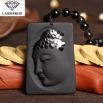 genuine natural Matte Black Obsidian Guanyin pendant side crystal necklace <b>jewelry</b> wholesale <b>supply</b> of men and women in China