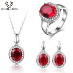 DOUBLE-R Wedding Jewelry Sets Created Oval Ruby Gemstone Zircon Ring Pendant Necklace 925 <b>Sterling</b> <b>Silver</b> <b>Earrings</b> for women