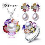WATTENSJewelry set, 100% natural freshwater pearl jewelry gifts for women,925 <b>sterling</b> <b>silver</b> pearl pendant <b>earrings</b> ring