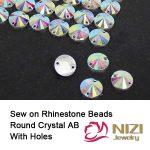 10mm 12mm 14mm 16mm 18mm 22mm Crystal AB Resin Rhinestones Round Flatback Two Holes Sew On Diamonds DIY <b>Jewelry</b> Making <b>Supplies</b>