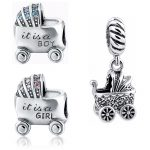 SG diy craft beads Baby boy and girl carriage charms collection silver color 925 fit authentic bracelet <b>jewelry</b> factory <b>supply</b>