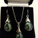 Women's Wedding 12*16mm Black Shell Pearl Earrings Necklace Pendant <b>Jewelry</b> Set>AAA GP Bridal wide Natural silver-<b>jewelry</b>