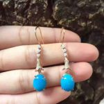 natural blue turquoise stone drop <b>earrings</b> 925 <b>silver</b> Natural gemstone <b>earring</b> women elegant round drop <b>earrings</b> for party
