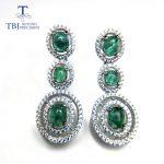 TBJ,Natural green emerald luxury elegant <b>earring</b> studs 925 <b>sterling</b> <b>silver</b> gemstone fine jewelry for women wife mom daily wear