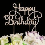 Happy Birthday Cake Toppers Silver lettershappy birthday Tool Party <b>Supplies</b> Ideas (Glitter Silver)