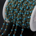 5Meter small blue glass beads Faceted Rondelle Rosary Chains,Brass Plated links Chain loop necklace <b>jewelry</b> <b>supplies</b>