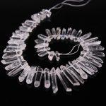 15.5″Strand Top Drilled Polished Clear Crystal Point Loose Beads,Raw Crystal Quartz Graduated Stick Pendants <b>Jewelry</b> <b>supplies</b>