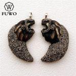 FUWO Lion Head Pave Rhinestone Resin Pendant Fashion Carved Animal Charm For DIY <b>Jewelry</b> Necklace Making <b>Supplies</b> PD1536