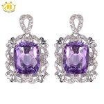Hutang 6.08ct Amethyst Vintage Style <b>Earrings</b> Solid 925 <b>Sterling</b> <b>Silver</b> <b>Earring</b> Fine Natural Gemstone Jewelry Women's Gift Party