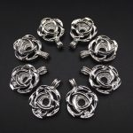 10pcs Bright Silver Lotus Flower Pearl Cage <b>Jewelry</b> Making <b>Supplies</b> Beads Cage Pendant Essential Oil Diffuser Trendy Locket
