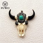 FUWO Carved Bone Steer Skull Pendant Fashion Ox Bone With Turquoises Charm For DIY <b>Jewelry</b> Necklace Making <b>Supplies</b> PD1537
