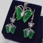 Prett Lovely Women's Wedding <b>Jewelry</b> green gem pendant necklace earring. set 5.23