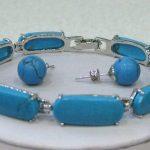 Natural Prett Lovely Women's Wedding shipping>>beautiful stone bracelet 7.5″ earrings set silver-<b>jewelry</b> wedding