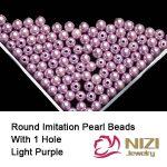 Imitation Pearls Straight Hole Resin Nail Beads Charms <b>Jewelry</b> 6mm 8mm 10mm Light Purple Nail Art <b>Supplies</b> Decorations 100g/bag