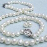 Lovely Women's Wedding <b>Jewelry</b> silver natural freshwater pearl 7-8mm wei e Perlenkette Armband necklace bracelet earring Set