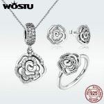 WOSTU Authentic 100% 925 Sterling Silver Sparkling CZ Rose Flower Pearl Pendants <b>Jewelry</b> Sets Woman& Lady Wedding <b>Jewelry</b>