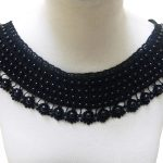 Black beaded Collar Applique Embroidery Lace Collar for <b>Jewelry</b> <b>Supply</b> Costume Design wedding dress full dress stage performance