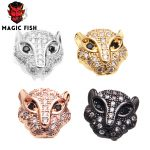 Magic Fish 10 pcs DIY beads Leopard head Copper plating color Inlaid white zircon Drop shipping charms <b>jewelry</b> making <b>supplies</b>