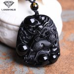 The wholesale <b>supply</b> of natural Obsidian pendant <b>jewelry</b> counter genuine Obsidian Pendant Necklace and kylin Made in China