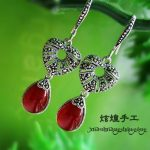 silversmith manual S925 <b>Sterling</b> <b>Silver</b> red corundum retro female <b>earrings</b>