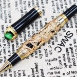 Jinhao Dragon King Vintage Rollerball Pen, Green <b>Jewelry</b> Metal Embossing , Noble Golden Color Business Office School <b>Supplies</b>