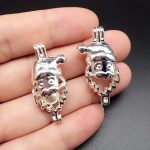 10pcs Bright Silver Hollowed Santa Claus <b>Jewelry</b> Making <b>Supplies</b> Pearl Beads Cage Pendant Essential Oil Diffuser Trendy Locket