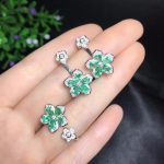 Columbia natural emerald set ring <b>earrings</b> necklace fashionable with new design quality 925 <b>Silver</b>