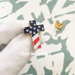 US Patriotic Religious <b>Jewelry</b> Enamel Lapel Pins Brooch Christian Cross Pin Badge with USA Flag American