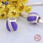SG 925 Sterling Silver Charms beads with Cubic Zirconia&purple enamel Fit Original pandora Bracelets diy <b>Jewelry</b> factory <b>supply</b>