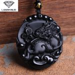 Natural counter genuine Obsidian pendant wholesale <b>supply</b> of male and female Obsidian kylin Pendant Necklace <b>Jewelry</b> Made China