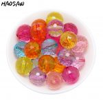 High Quality 20MM 100Pcs/Lot Transparent Faceted Round Beads Mixed Color Acrylic Transparent Disco Ball For <b>Jewelry</b> <b>Supplies</b>