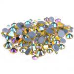 DIY <b>Jewelry</b> Nails Art <b>Supplies</b> Citrine AB Glue Backing Hotfix Crystal Rhinestones Flatback Round Iron On Glass Chatons