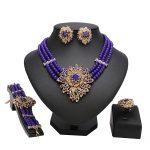 Blue beads Nigerian Wedding African Beads <b>Jewelry</b> Sets Dubai Fashion Women <b>Jewelry</b> Costume Wholesale Design Neck accessories