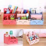 Office <b>supplis</b> Cosmetics Storage Boxes Cat Pattern Wooden Box Assembly DIY Container Desktop Storage Makeup Organizer 1 PC
