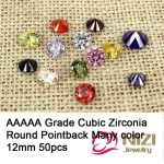 12mm 50pcs Cubic Zirconia Beads For <b>Jewelry</b> Decoration Round AAAAA Grade Glue On Stones Pointback Rhinestones DIY Craft <b>Supplies</b>