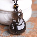 Counter genuine ice Obsidian Obsidian pendant and a fox wholesale <b>supply</b> natural Obsidian <b>jewelry</b>