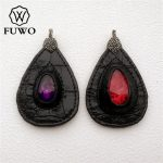 FUWO Large Size Leather Wrapped Crystal Pendant Fashion Magic Crystal Charm For DIY <b>Jewelry</b> Necklace Making <b>Supplies</b> PD1538