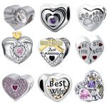 2018 New girl beads diy heart shape collection with CZ fit authentic pandora charms bracelet fine <b>jewelry</b> component <b>supply</b>