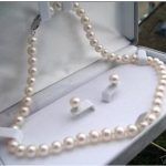Women's Wedding Fashion 8-9mm Natural White Akoya Cultured Pearl Earrings Necklace Set 17″ real silver-<b>jewelry</b> silver-<b>jewelry</b>